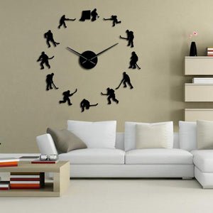 Ice Hockey Large Frameless DIY Wall Clock Hockey Player Gift