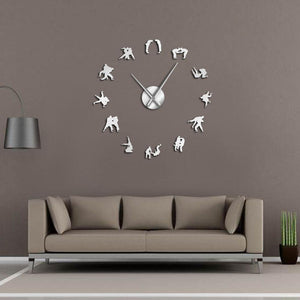 Judo Wrestler Art Large Frameless DIY Wall Clock Gift