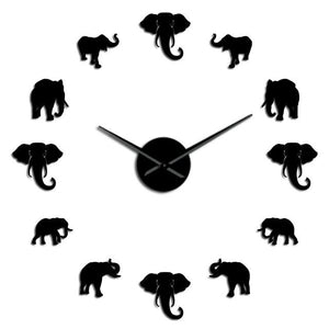 Wall Clocks - Jungle Elephant Large Frameless DIY Wall Clock