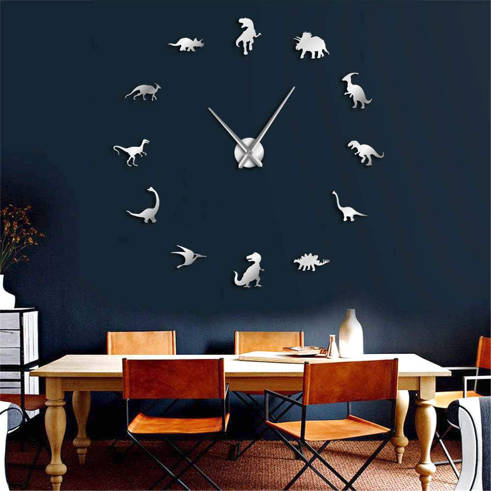 Wall Clocks - Jurassic Dinosaurs T-Rex Large Frameless DIY Wall Clock