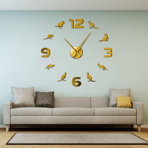 Kangaroo Large Frameless DIY Wall Clock Wall Watch Decor Gift