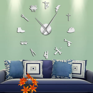 Wall Clocks - Lineman Electrician Large Frameless DIY Wall Clock Gift