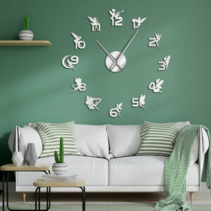 Magical Fairies With Mirror Numbers Large Frameless DIY Wall Clock