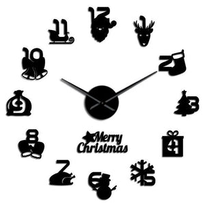 Merry Christmas Holidays Time Large Frameless DIY Wall Clock Watch Decor