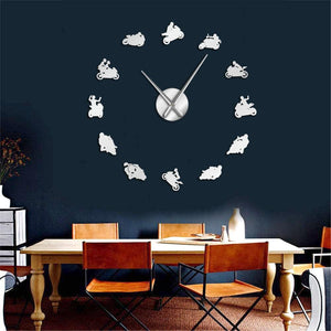 Motocross Sports Super Motorbike Large Frameless DIY Wall Clock