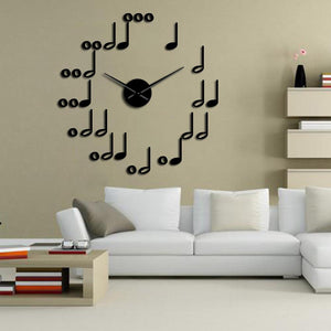 Music Notes Large Frameless DIY Wall Clock Music Studio Room Decor Musician Gifts