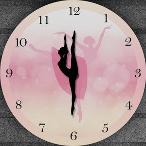 Princess Ballet Girl Moving Leg Dancing Pink Wall Clock
