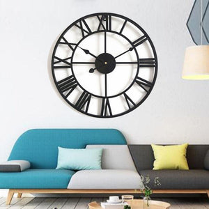 Wall Clocks - Retro Roman Number Large Metal Wall Clock Wall Decoration