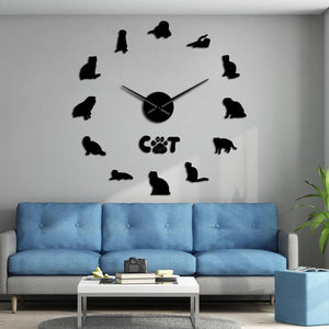 Wall Clocks - Scottish Fold Cats Large Frameless DIY Wall Clock Gift