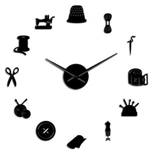 Sewing Tools Large Frameless DIY Wall Clock Tailor Shop Decor Gift