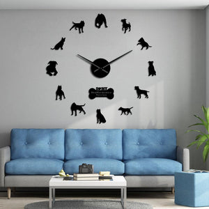 Staffordshire Terrier Large Frameless DIY Wall Clock Dog Lovers Gift