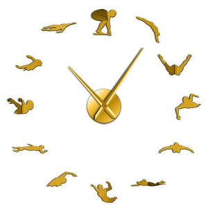 Wall Clocks - Swimming Large Frameless DIY Wall Clock Swimmer Gift