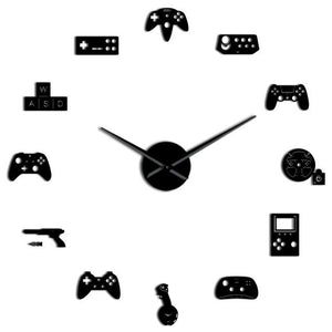 Wall Clocks - Video Game Controller Large Frameless DIY Wall Clock Console Gamer Gift