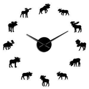 Wall Clocks - Wildlife Moose Nature Animal Large Frameless DIY Wall Clock