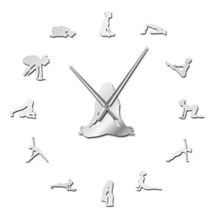 Yoga Poses Find Your Balance Meditation Large Frameless DIY Wall Clock