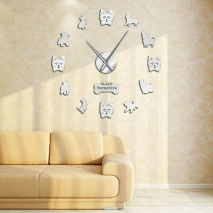 Wall Clocks - Yorkshire Terrier Large Frameless DIY Wall Clock Yorkie Lover Gift