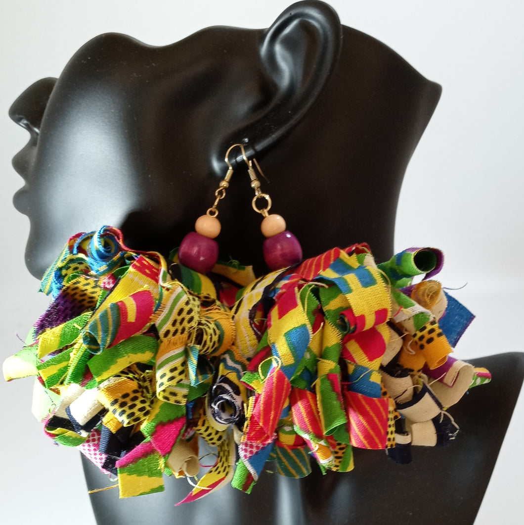 Purple Multi-colored Ankara Earrings