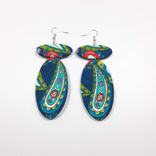 Load image into Gallery viewer, Blue Paisley Earrings