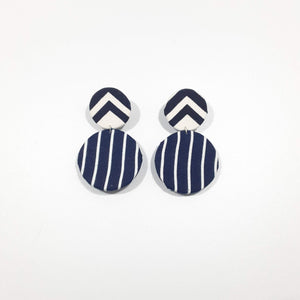 Blue White Arrow Striped Earrings