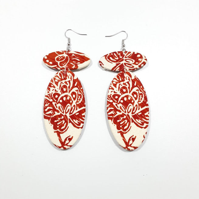 Cream Autumn Red Flower Earrings