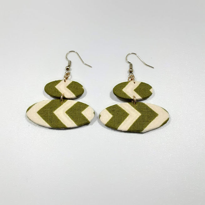 Cream Green Arrows Earrings