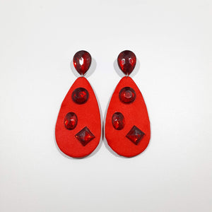 Deep Red Rhinestones Earrings