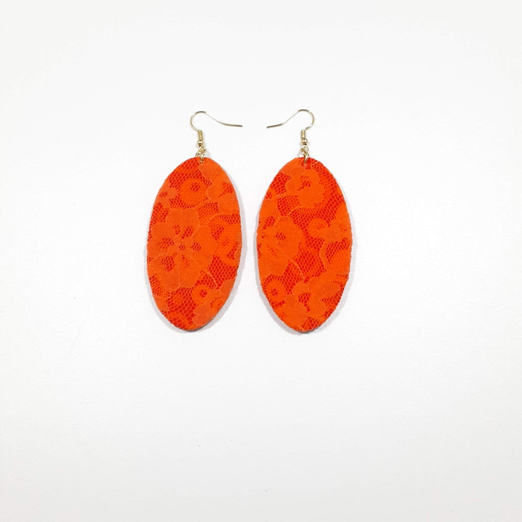Orange Lace over Psychedelic Earrings