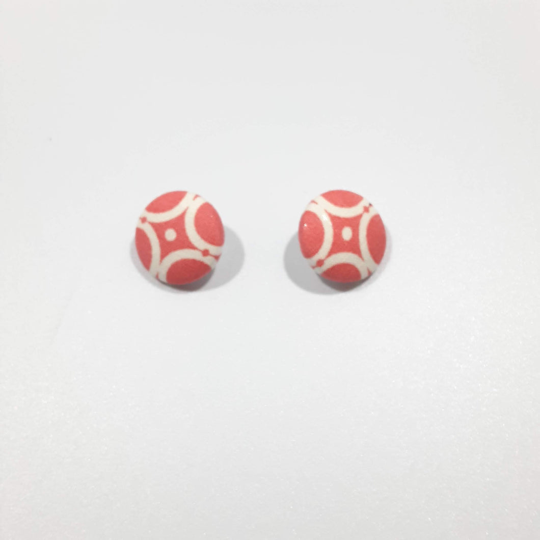 Peach White Button Earrings