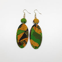 Load image into Gallery viewer, Stripes Specks Ankara Long Earrings