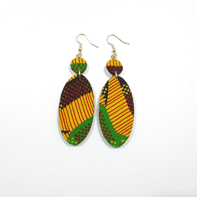 Stripes Specks Ankara Long Earrings