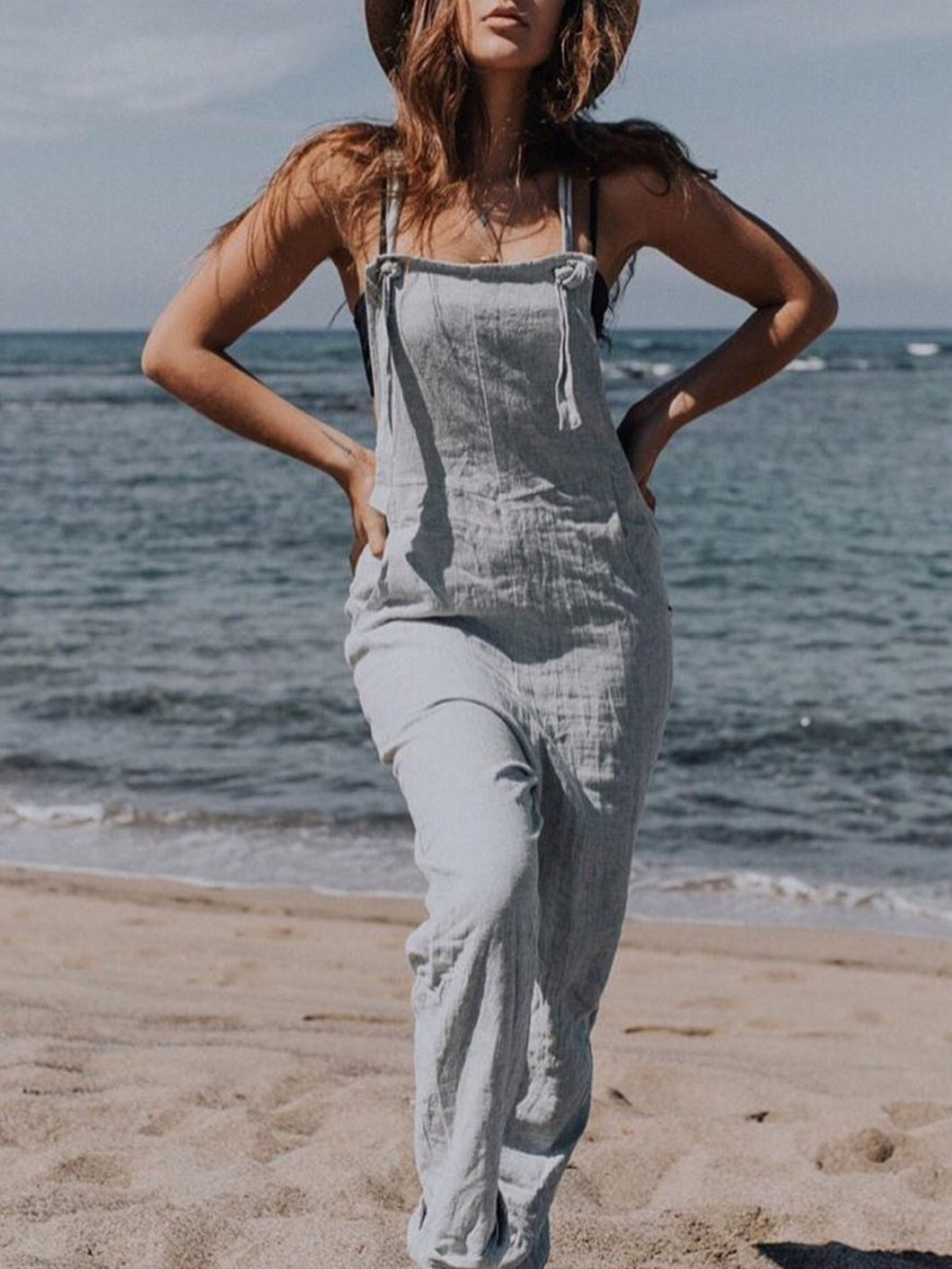 Grey Sleeveless Cotton Solid Pants