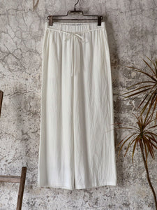 White Shift Linen Casual Pants