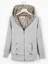 Load image into Gallery viewer, Zipper Leopard Print Casual Hoodie Coat