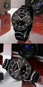 Men's Steel Strap Watch Waterproof Quartz Date Watch