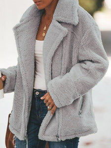 Plus Size Solid Casual Outerwear
