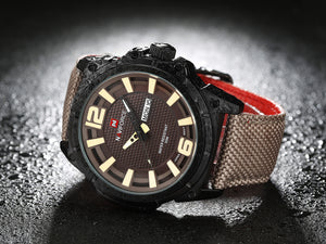 Men's Watch Nylon Strap Waterproof Quartz Date Men's Watch