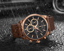 Load image into Gallery viewer, men's watches six hand watches waterproof leather strap watches