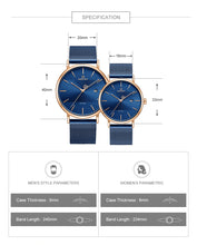 Load image into Gallery viewer, Couple watches Waterproof quartz watches with mesh straps Casual Men's Watches Women's Watches