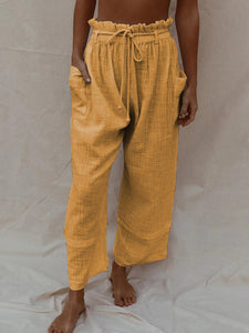 Holiday Cotton Linen Solid Casual Pockets Pants