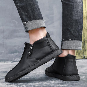 Men Hand Stitching Leather Non Slip Large Size Soft Casual Ankle Boots
