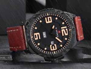 Men's Watch Quartz Calendar Waterproof Leather Men's Watch