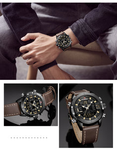 Men's Watch Leather Strap Watch Waterproof Quartz Dual Movement Electronic Sports Watch