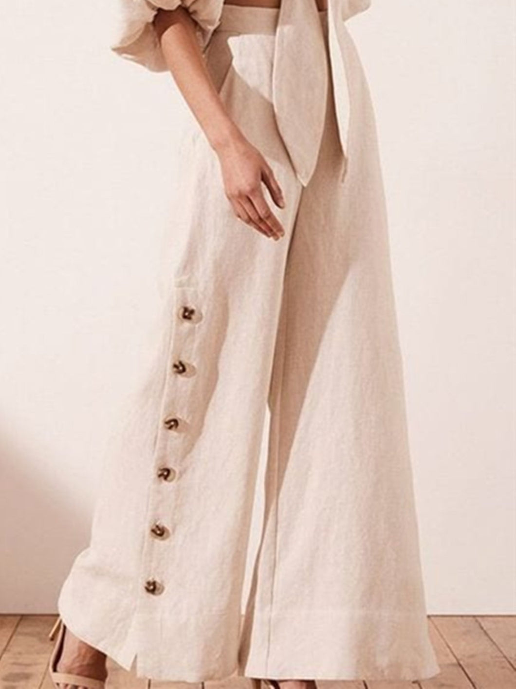 Cream Casual Linen Pants