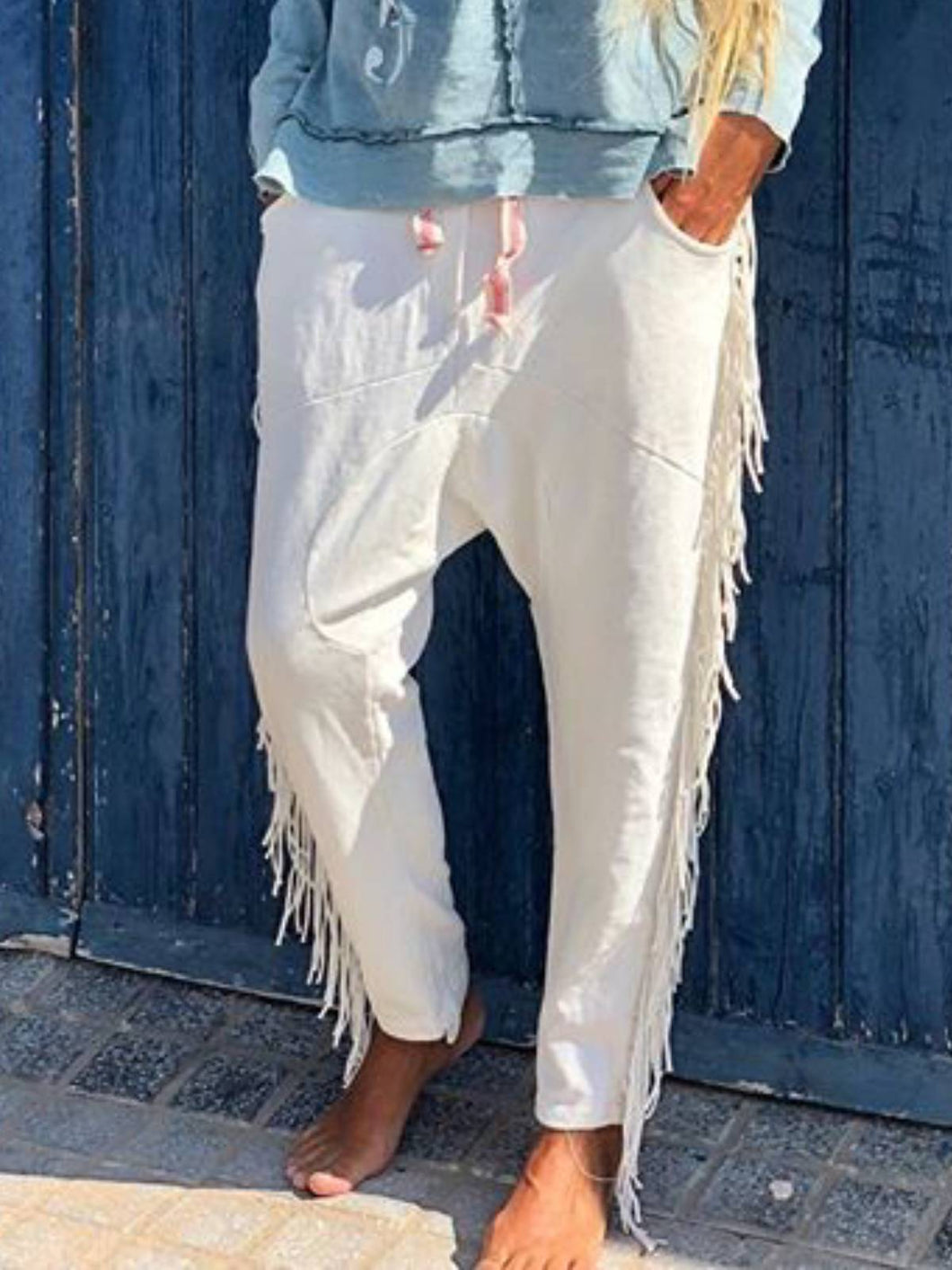 White Cotton Casual Pants