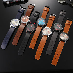 Men's Watch Single Calendar Quartz Men's Watch Business Waterproof Leather Watch