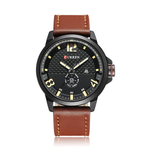 Men's Watch Date Day Leather Waterproof Quartz Watch