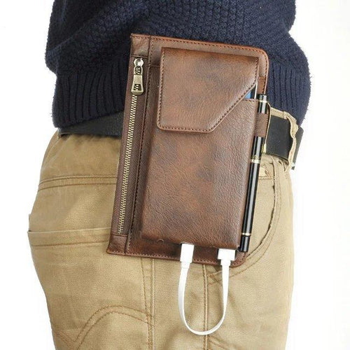 Men's Vintage Solid Messenger Waist Bag