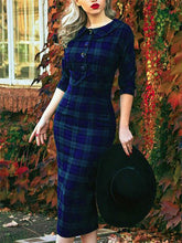 Load image into Gallery viewer, Plaid Sweet 3/4 Sleeve Peter Pan Collar Dresses