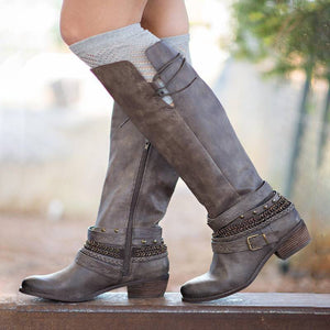 Women Casual Low Heel Zipper Mid-Calf Boots