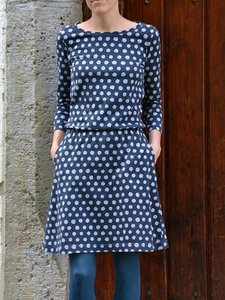 Casual Crew Neck Polka Dots Dresses